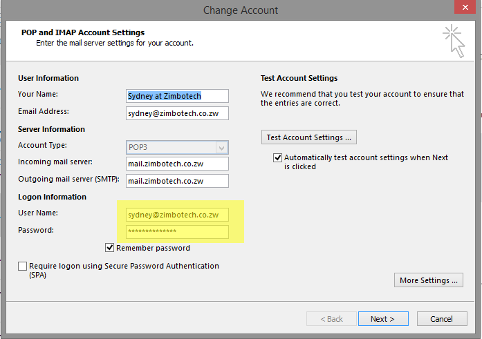 Change password - Microsoft Outlook Password