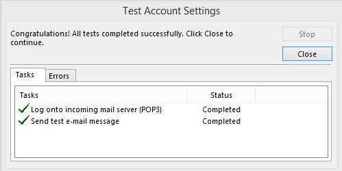 Test settings - Microsoft Outlook Password
